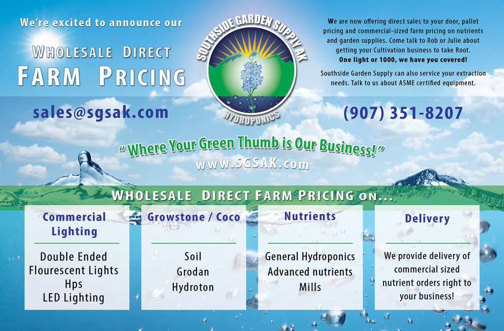 Wholsale Direct Farm Pricing on Hydorponics and Indoor Gardening and Cultivation Equipment and Supplies in Anchorage, Alaska