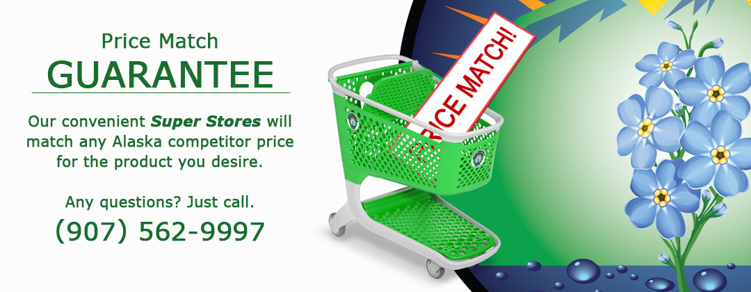 Alaska's hydroponic and indoor gardening product price match guarantee
