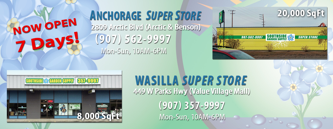 indefinitely2 Hydroponic Indoor Gardening Super Stores in Anchorage and Wasilla Alaska for Residential and Commercial Growers Open 7 Days!